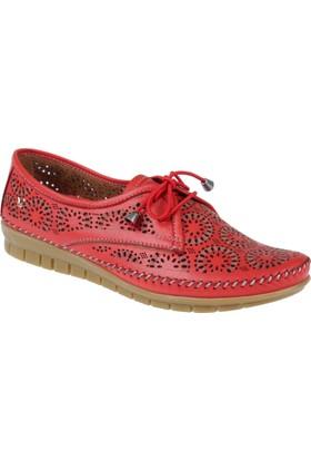 İloz Hakiki Deri Kadın Ayakkabı Snj 240029 Kırmızı