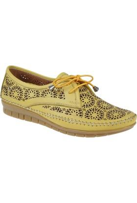 İloz Hakiki Deri Kadın Ayakkabı Snj 240029 Sarı