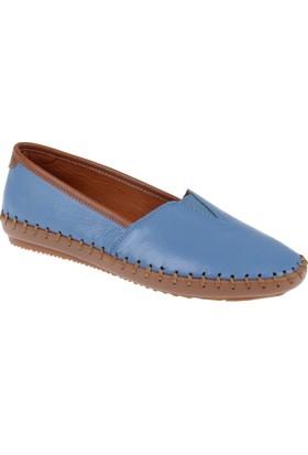 Shalin Hakiki Deri Kadın Ayakkabı Est 236 Mavi