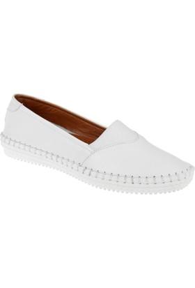 Shalin Hakiki Deri Kadın Ayakkabı Est 178 Beyaz