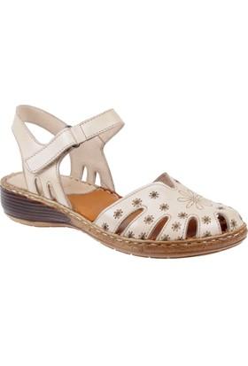 Beety Hakiki Deri Kadın Sandalet Bty 204 Bej