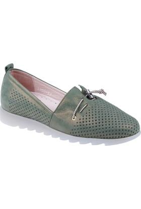 Shalin Hakiki Deri Kadın Ayakkabı Hnz 1100 Yeşil