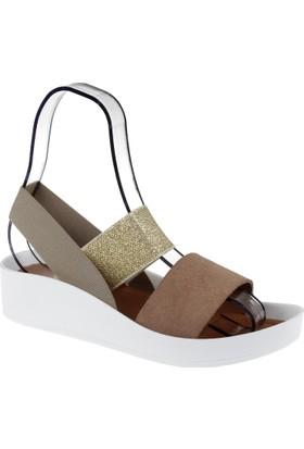 Shalin Hakiki Deri Kadın Sandalet Bt 1310 Vizon