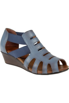 Beety Hakiki Deri Kadın Sandalet Bty 6969 Mavi