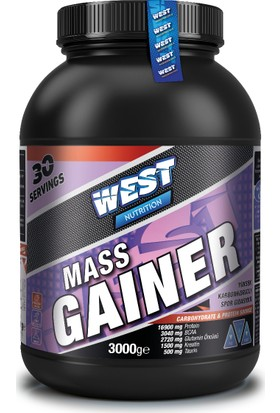 West Nutrition Mass Gainer Karbonhidrat Tozu 3000 gr Çilek