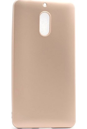 Etabibizde Nokia 6 Kılıf Premier Yumuşak Silikon Arka Kapak Gold + Nano Cam