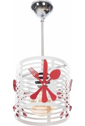 GzHome Mutfak Tekli Küçük Sarkıt - Beyaz/Kırmızı