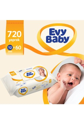 Evy Baby Islak Havlu Soft 12'li Aylık Ekonomik Paket 720 Yaprak
