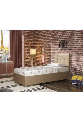 Dakron Baza+Başlık+Yatak Set Deri Bej 90X190