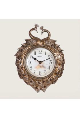 Ultima Regal Küçük Tavus Desenli Taşlı Kestane Kabuğu Sarkaçlı Duvar Saatı
