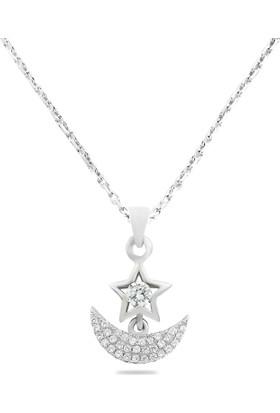 Hepsi Ay Yıldız 925 Ayar Gümüş Zirkon Taşlı Ay Yıldız Kolye