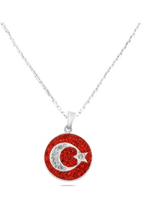 Hepsi Ay Yıldız 925 Ayar Gümüş Kırmızı Taşlı Ay Yıldız Kolye