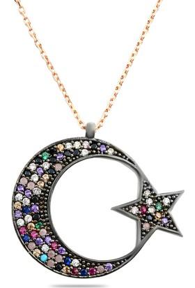 Hepsi Ay Yıldız 925 Ayar Gümüş Renkli Zirkon Taşlı Ay Yıldız Kolye