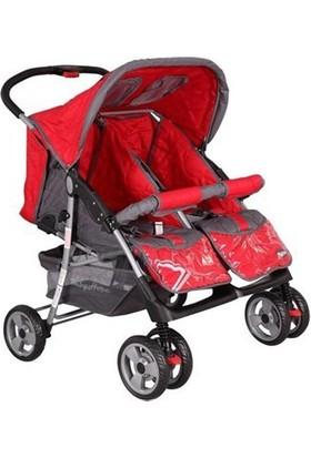 Babyhope P-L İkiz Puset Kırmızı Siyah