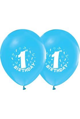 Partimarket Bir Yaş Baskılı Erkek Doğum Günü Lateks Balon 10 Adet