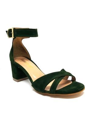 Shop And Shoes 164-15 Kadın Ayakkabı Yeşil Süet