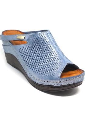 Shop And Shoes 122-0707-14 Kadın Terlik Mavi Sim