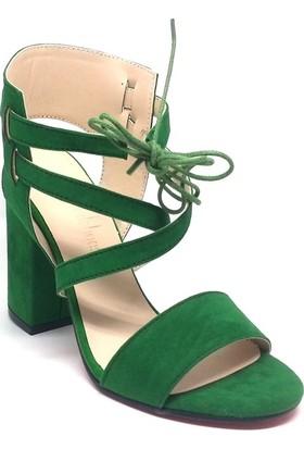 Shop And Shoes 173-521 Kadın Ayakkabı Yeşil Süet