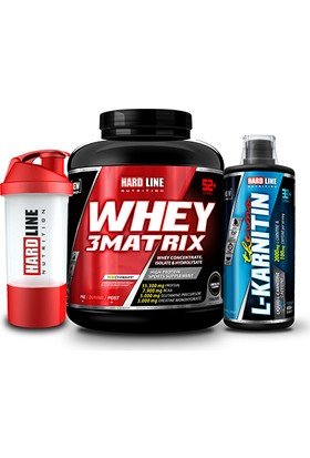 Hardline Nutrition Whey 3 Matrix Protein Tozu Muz 2300 Gr + L-Karnitin Thermo 1000 Ml + Shaker
