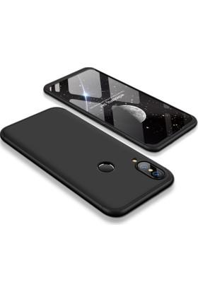 Case 4U Huawei P20 Lite 360 Derece Korumalı Kılıf Tam Kapatan Koruyucu Sert Arka Kapak - Siyah