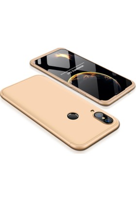 Case 4U Huawei P20 Lite 360 Derece Korumalı Kılıf Tam Kapatan Koruyucu Sert Arka Kapak - Altın