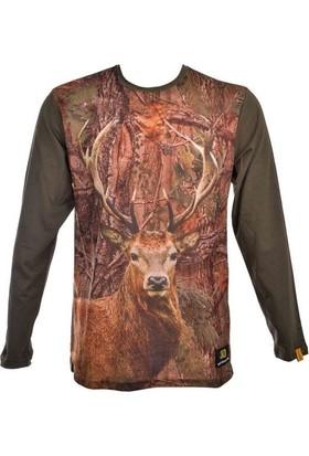 Guntack Geyik Temalı Uzun Kollu Erkek T-Shirt