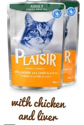 Plaisir Adult Sos İçinde Tavuk ve Karaciğer Parçaları 100 gr