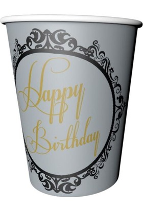 Balonevi Elegant stripe kağıt bardak gümüş 8'li