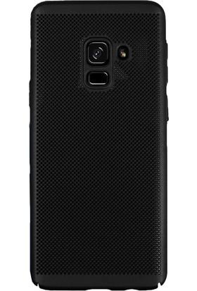 KılıfShop Samsung Galaxy A8 Plus Plus Delikli Sert Kılıf - Siyah + Cam Ekran Koruyucu