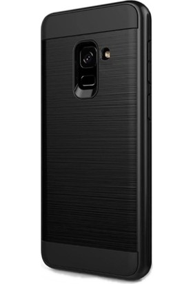 KılıfShop Samsung Galaxy A8 Plus Soft Heavy Duty Kılıf - Siyah + Tam Cam Ekran Koruyucu