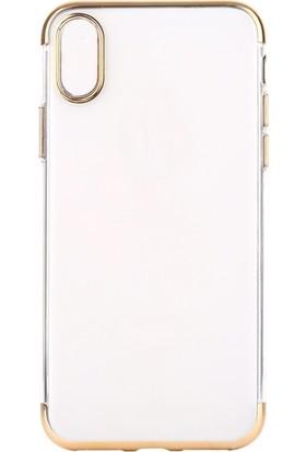 KılıfShop Apple iPhone X Lazer Kesim Silikon Kılıf - Gold + Cam Ekran Koruyucu