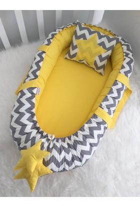 Babynest Gri Zigzaglı Sarı Lüx Tasarım Çift Taraflı Yatak