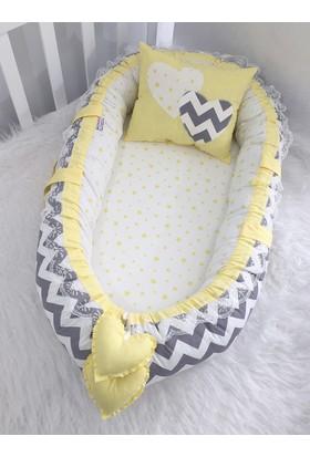Babynest Gri Zigzaglı Sarı Yıldızlı Ortopedik Lüx Yatak