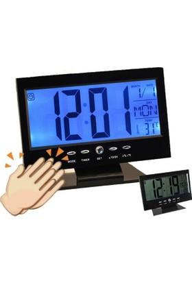 Pratik Şeyler Alkış Sensörlü Led Dijital Masa Saati Alarm+Termometre