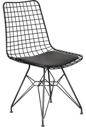 Evmanya Haus Kafes Tel Sandalye Siyah