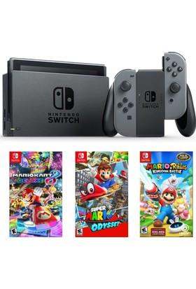 Nintendo Switch Gri + Super Mario Odyssey + Mario Kart Deluxe 8 + Mario Rabbids Kingdom Battle