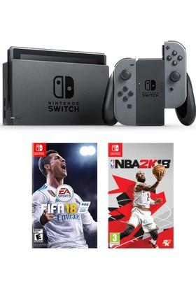 Nintendo Switch Gri + Nba 2K18 + Fifa 18