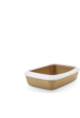 Savic Irız 42 cm Retro Açık Kedi Tuvaleti Beyaz Açık Kahverengi 42 x 30,5 x 10 Cm