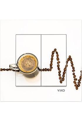 CajuArt Dekoratif Baskılı Çiftli Açma Kapama Anahtarı Çiftli Elektrik Düğmesi Kahve Çekirdek Kalp Ritmi
