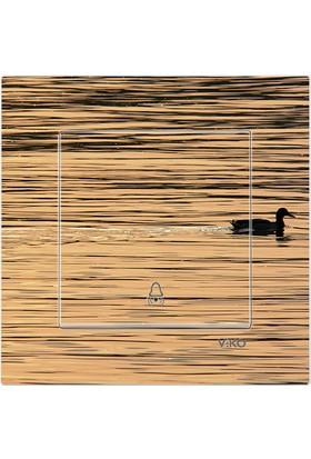 CajuArt Dekoratif Baskılı Kapı Zili Otomat Düğmesi Ördek Göl