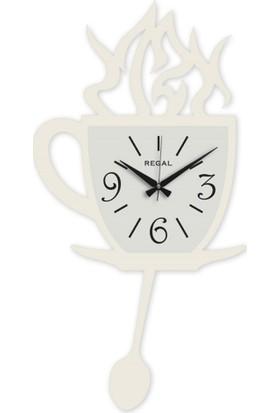 Regal Kahve Fincanı Beyaz Duvar Saati