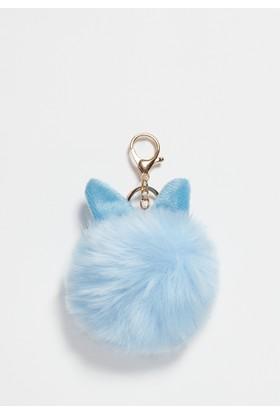 Mavi Kadın Kulaklı Ponpon Anahtarlık