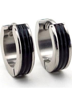 Solfera Siyah Çizgili Çentik Tasarım Erkek Çelik Küpe E505