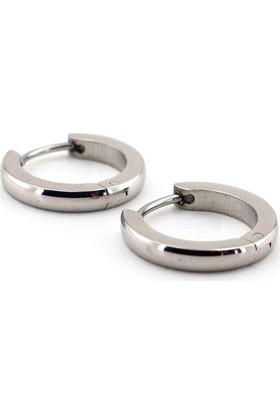 Solfera Parlak Gümüş Renk Eğimli Halka Çelik Erkek Küpe E511