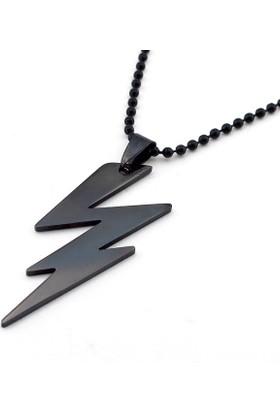 Solfera Şimşek Tasarım Siyah Renk Çelik Erkek Kolye K958