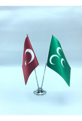 Gönder Bayrak - Osmanlı Üç Hilal Bayrağı 15X22,5Cm İkili Direkli