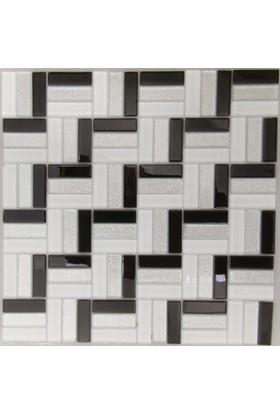 Dizayncam - Nantes Mix Beyaz - Cam Mozaik
