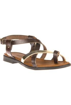 Uniquer, Kadın Hakiki Deri Sandalet 81354U 101 Kahve-Altın