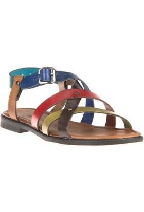 Uniquer, Kadın Hakiki Deri Sandalet 81354U 103 Multi
