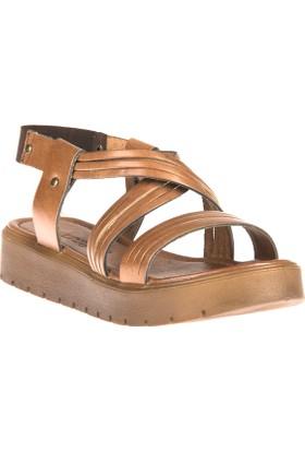 Uniquer, Kadın Hakiki Deri Sandalet 81354U 322 Taba